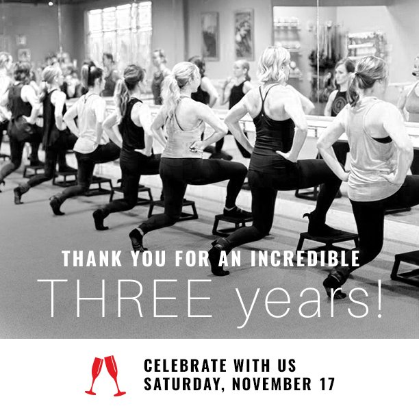Pure Barre Green Bay 3-Year Celebration Invitation and Social Media Design
